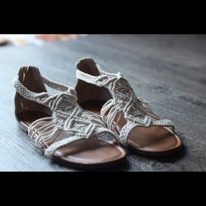 Cream colored, macrame sandals